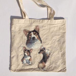 Vintage Corgi Print Tote Market Bag